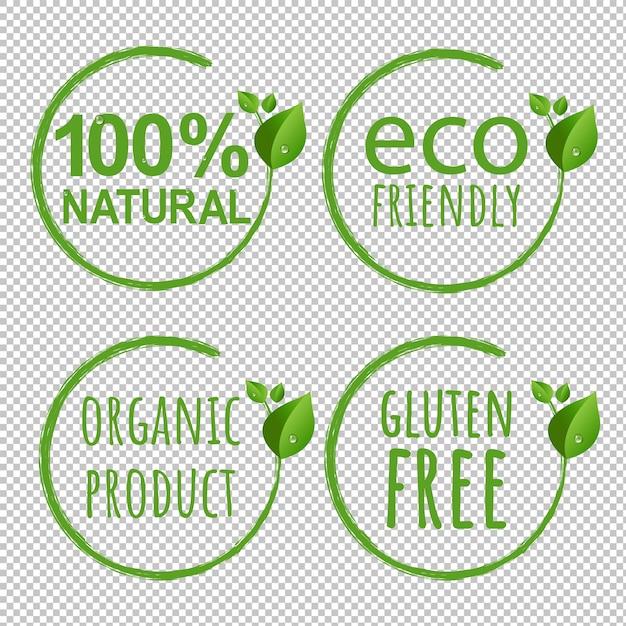 Eco logo symbol transparent background com gradient mesh, ilustração Vetor Premium