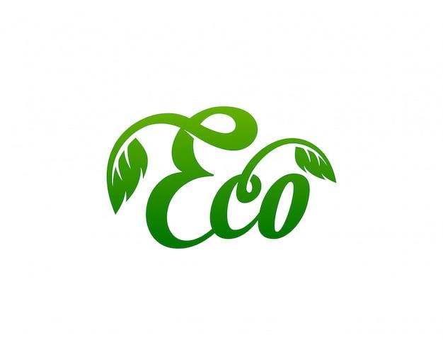 Eco logo template vector ilustração Vetor Premium