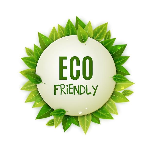 Eco rodada logotipo amigável com folhas verdes Vetor Premium