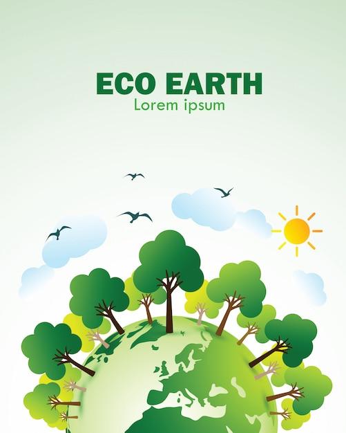 Eco terra verde Vetor Premium