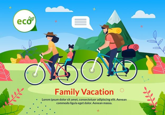 Eco tour de férias em família em bicicleta plana poster Vetor Premium