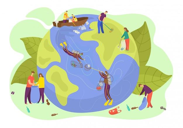 Ecologia do planeta eart, ilustração, salvar o conceito de ambiente mundo e natureza, proteção de cuidados de caráter de pessoas. cleen globo planeta símbolo, banner de conversa de pessoa verde. Vetor Premium