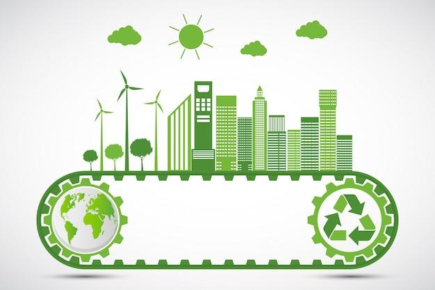 Ecologia e conceito ambiental, símbolo da terra com folhas verdes Vetor Premium