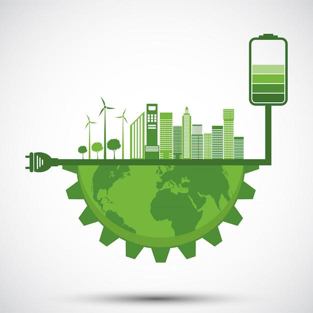 Ecologia e conceito ambiental, símbolo de terra com folhas verdes ao redor de cidades ajude o mundo com idéias ecológicas Vetor Premium