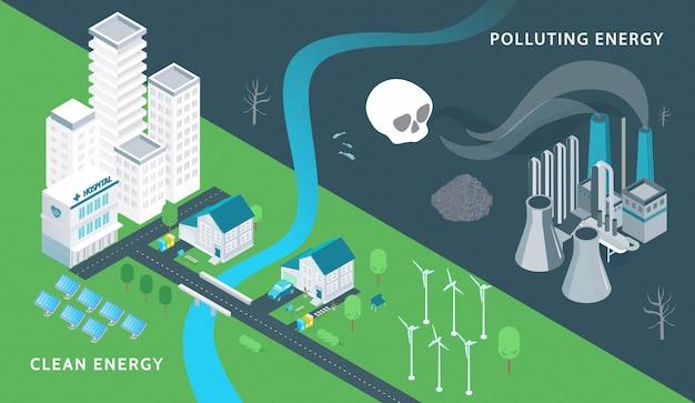 Ecologia e poluição isométrica com símbolos de energia limpa isométricos Vetor grátis