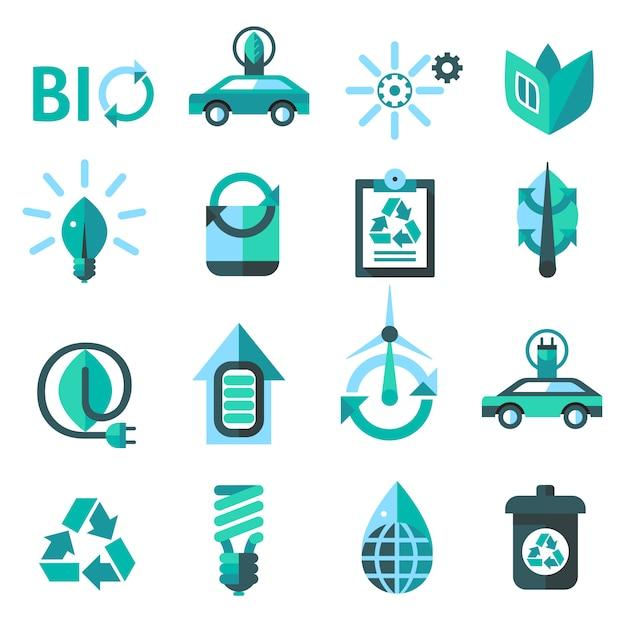 Ecologia e reciclagem de ícones Vetor grátis