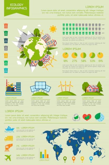 Ecologia ecologicamente ecológica conjunto de infografia de mundo de energia com gráficos e gráficos ilustração vetorial Vetor grátis