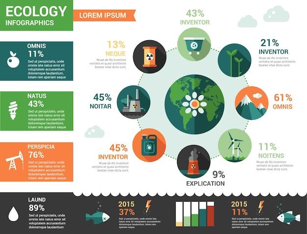 Ecologia - modelo de infográficos de design plano moderno Vetor Premium