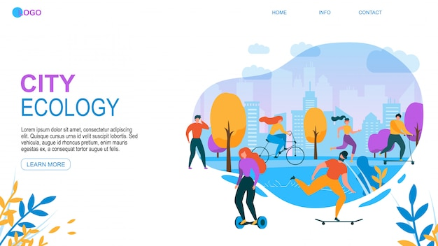 Ecologia moderna da cidade. pessoas dos desenhos animados com eco friendly Vetor Premium