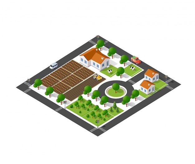 Ecológico suburbano isométrico Vetor Premium