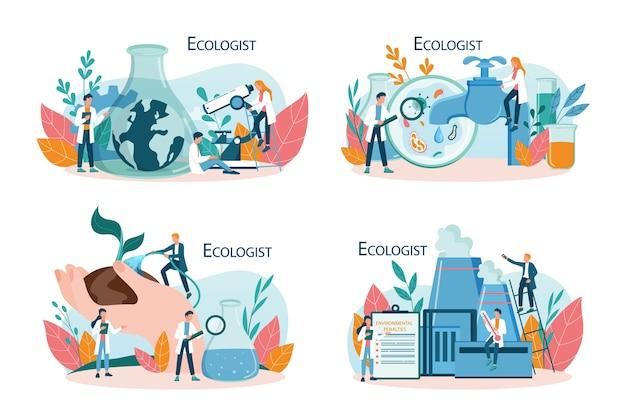 Ecologista cuidando do conceito de terra e natureza. conjunto de cientista cuidando da ecologia e do meio ambiente. proteção do ar, solo e água. ativista ecológico profissional. Vetor Premium