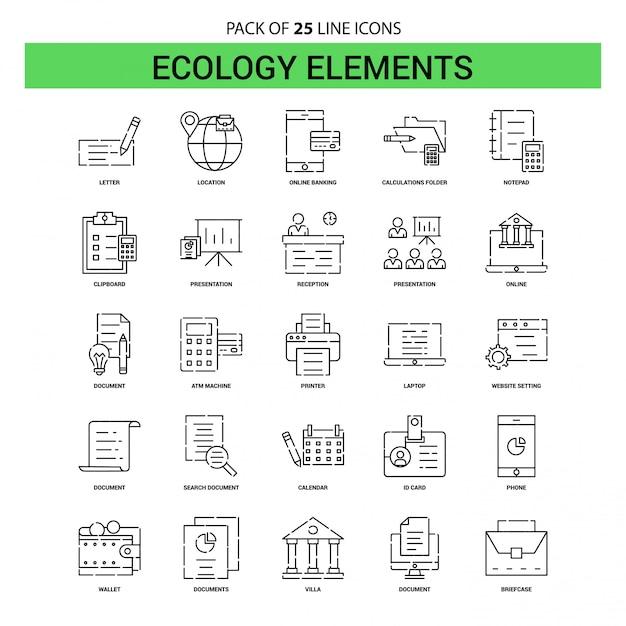 Ecology elements line icon set - 25 estilo de contorno esboçado Vetor Premium