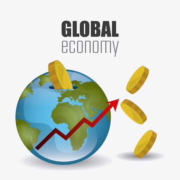 Economia global, dinheiro e design de negócios. Vetor grátis