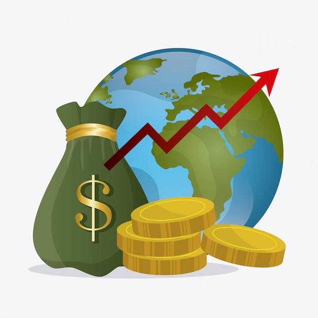 Economia global, dinheiro e negócios Vetor grátis