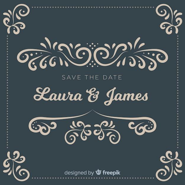 Economias decorativas o convite do casamento da data Vetor grátis