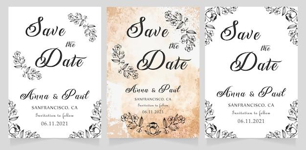 Economias do casamento o cartão de data Vetor Premium