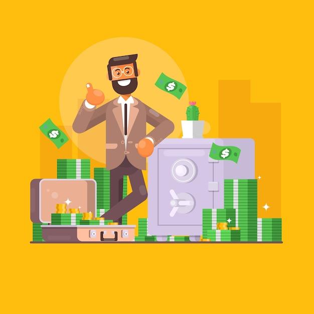 Economizando dinheiro. conceito de negócios, finanças e investimento. o personagem do empresário está perto de um cofre cheio de dinheiro. Vetor Premium
