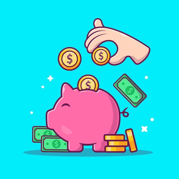 Economizando dinheiro ícone. porquinho, dinheiro e pilha de moedas, ícone de negócios isolado Vetor Premium