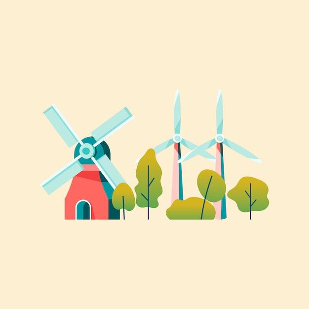 Economizando energia com energia eólica Vetor grátis