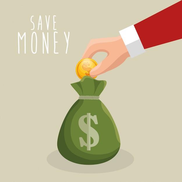 Economizar dinheiro mão colocar con saco de dinheiro Vetor grátis