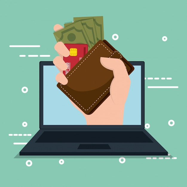 Economizar dinheiro on line com laptop Vetor grátis
