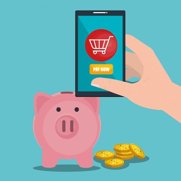 Economizar dinheiro on line com smartphone Vetor grátis