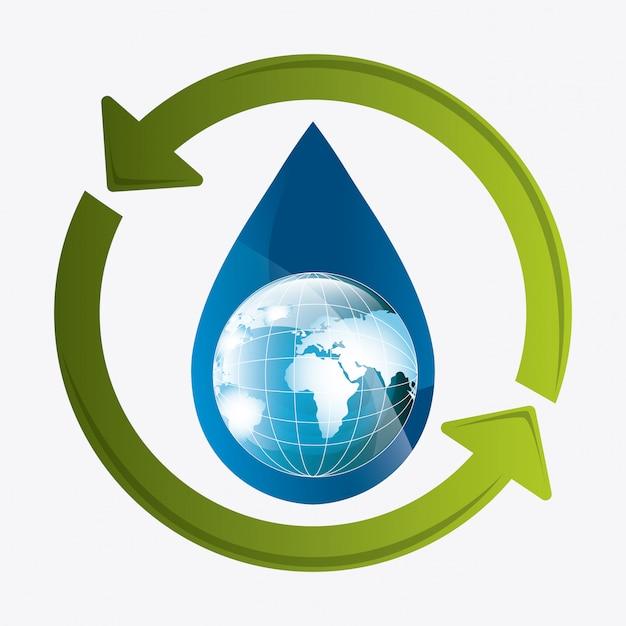 Economize a ecologia da água Vetor grátis
