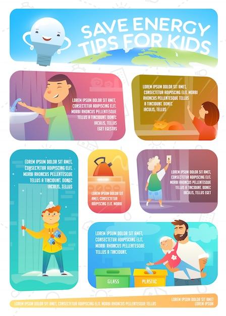 Economize dicas de energia para as crianças. infográfico da web sobre como economizar energia. Vetor Premium