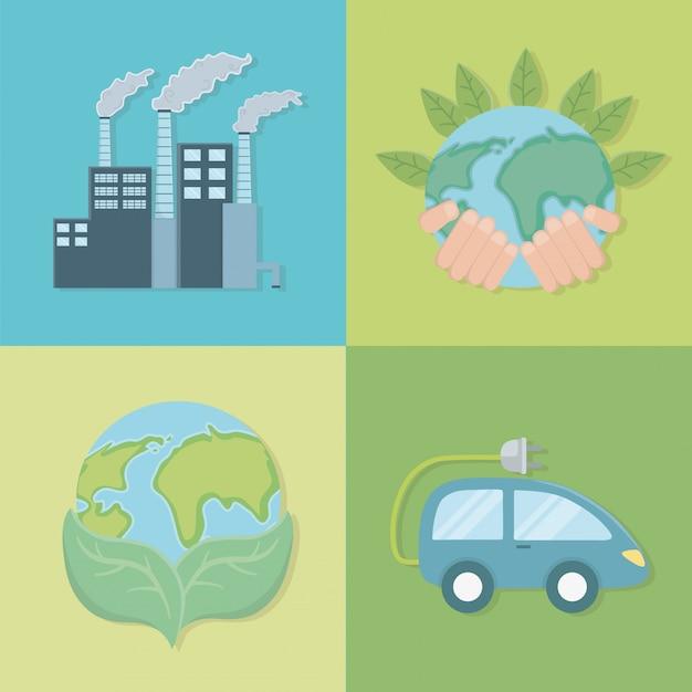 Economize energia e ecologia Vetor Premium