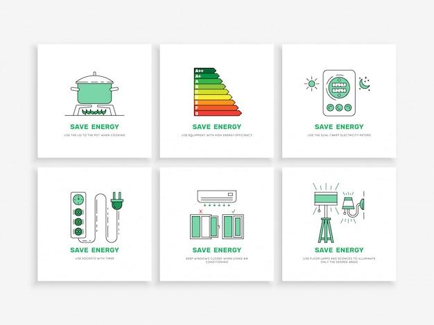 Economize energia em casa Vetor Premium
