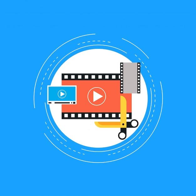 Edição de vídeo Vetor Premium