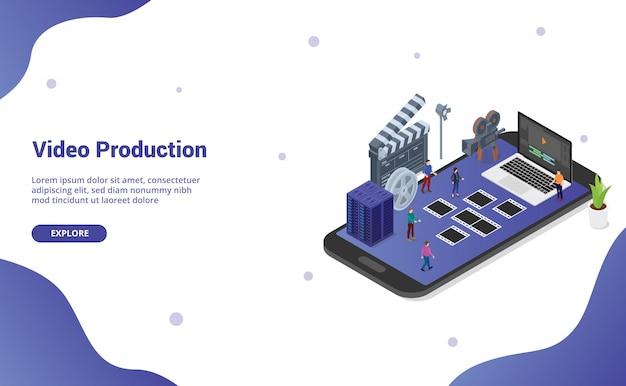 Edição e produção de vídeo para dispositivos móveis no smartphone para a página inicial do modelo de site Vetor Premium