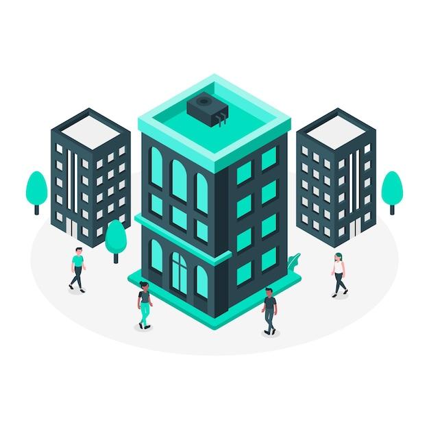 Edifício, conceito, ilustração Vetor grátis