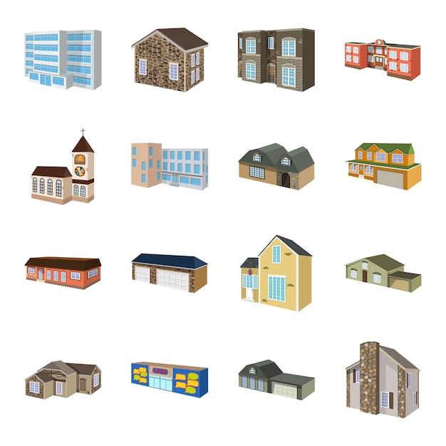 Edifício conjunto de ícones dos desenhos animados. casa de negócios de ilustração. Vetor Premium