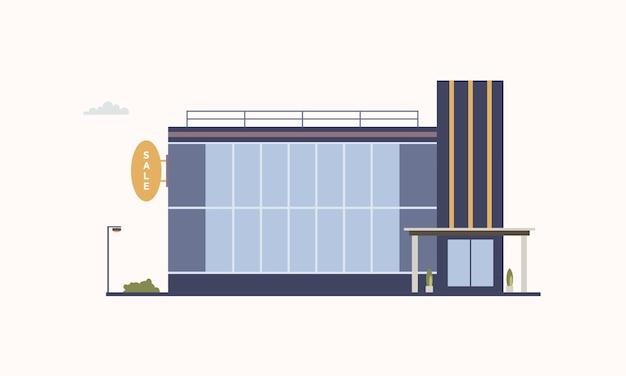 Edifício da cidade de centro comercial ou shopping com grandes janelas panorâmicas e porta de entrada de vidro construída em estilo arquitetônico moderno. outlet store ou loja de descontos. ilustração colorida do vetor. Vetor Premium