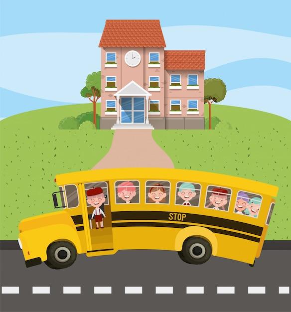 Edifício da escola e ônibus com crianças na cena da estrada Vetor grátis