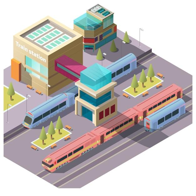 Edifício da estação de trem Vetor grátis