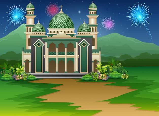 Edifício da mesquita com vista para fogos de artifício no céu Vetor Premium