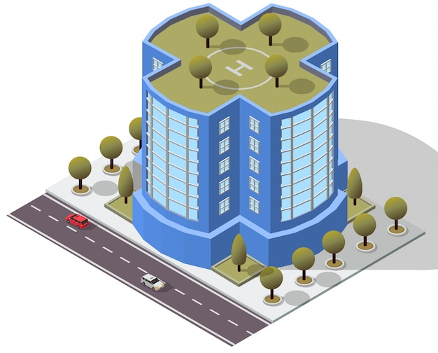 Edifício de apartamento isométrico do hotel Vetor Premium
