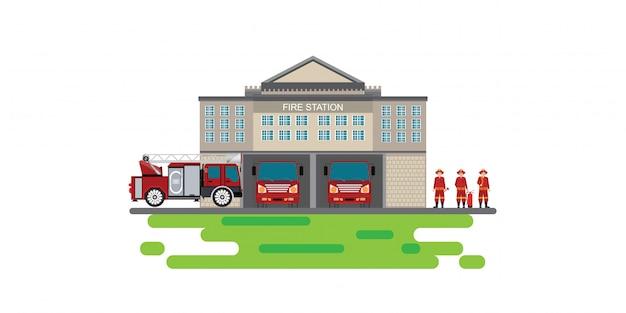 Edifício de bombeiros com veículo de emergência caminhão de bombeiros e ícone de homem de fogo isolado banner Vetor Premium
