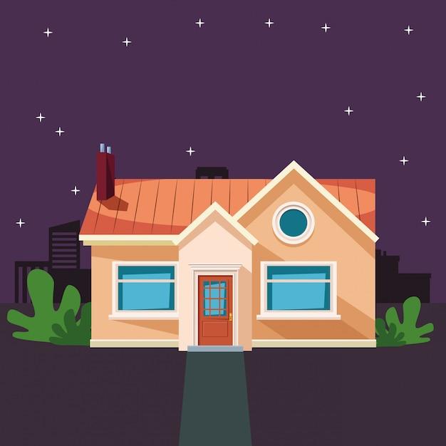 Edifício de casa com desenhos animados de ícone de planta Vetor grátis