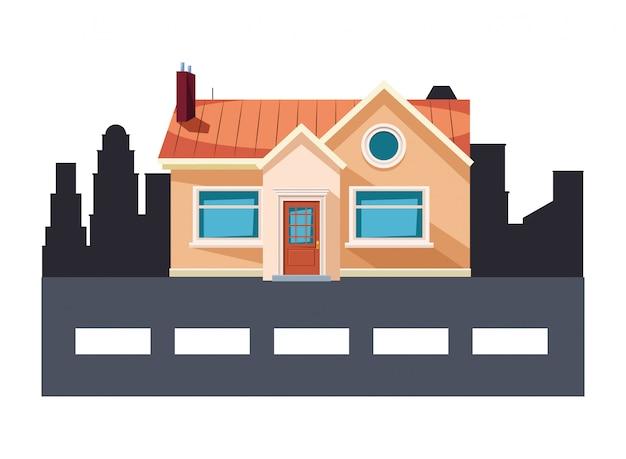 Edifício de casa e rua ícone dos desenhos animados Vetor Premium
