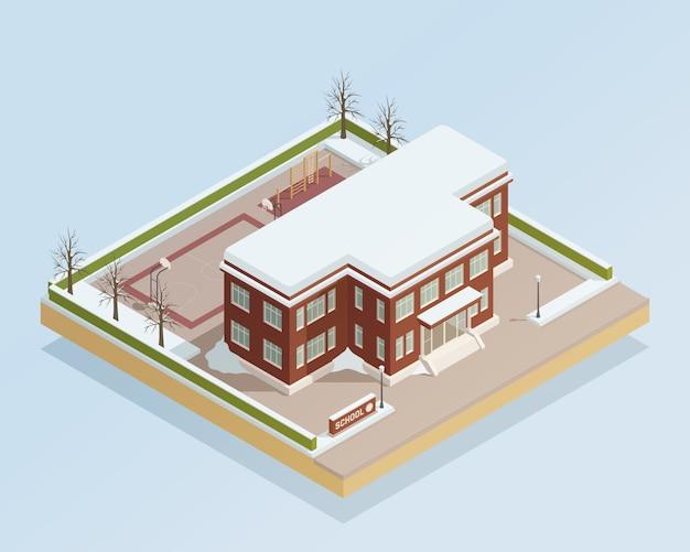 Edifício de faculdade de inverno isométrico ao ar livre Vetor grátis