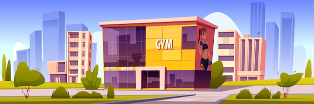 Edifício de ginásio, casa esportiva moderna em cidade de verão Vetor grátis