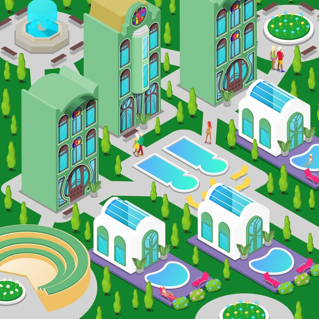 Edifício de hotel de luxo isométrico com piscina, fonte e jardim verde Vetor Premium