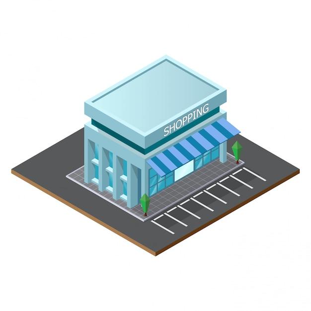 Edifício de loja de supermercado baixo poli. Vetor Premium