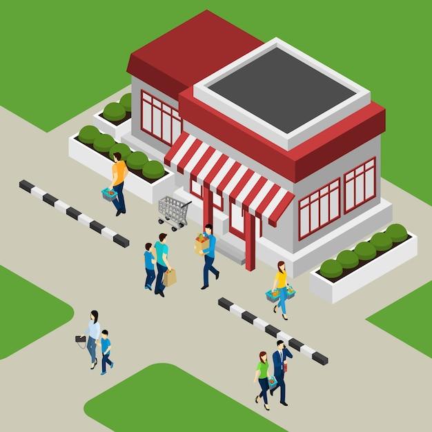 Edifício de loja e ilustração de clientes Vetor grátis