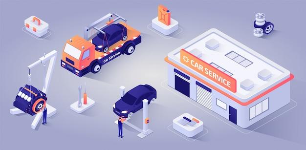 Edifício de serviço de carro com mecânica no trabalho vector Vetor Premium
