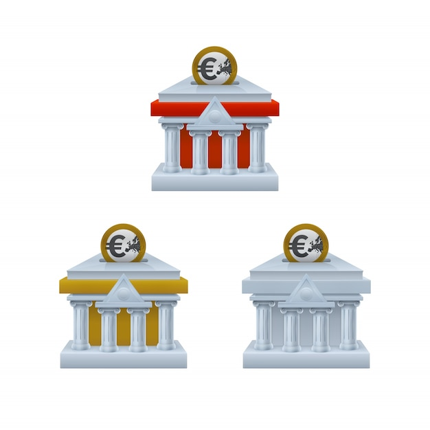 Edifício do banco em forma de cofrinho ícones com moedas de euro Vetor Premium