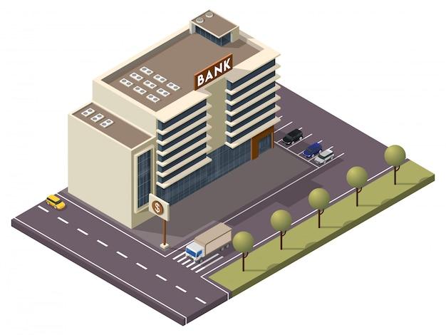 Edifício do banco isométrico com placa e estacionamento ao longo da rua de transporte Vetor Premium
